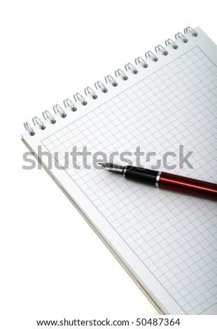 lecture notes. Pen and notebook for notes on a white background. Isolated - stock photo
