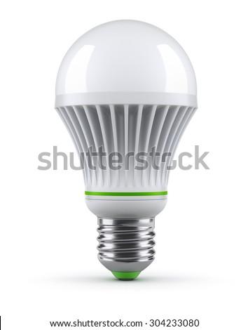 LED bulb on white background - stock photo