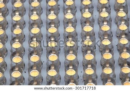 LED bulbs. Bulb small, included as panel lighting. - stock photo