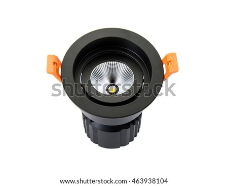 LED downlight on white background