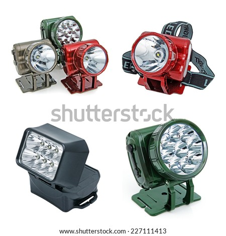 LED electric torches with a cellular reflector. Collage