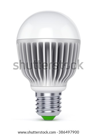 LED energy saving bulb. Electric lamp isolated on white background. - stock photo