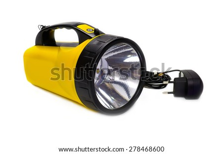 LED Flashlight isolated on white background - stock photo