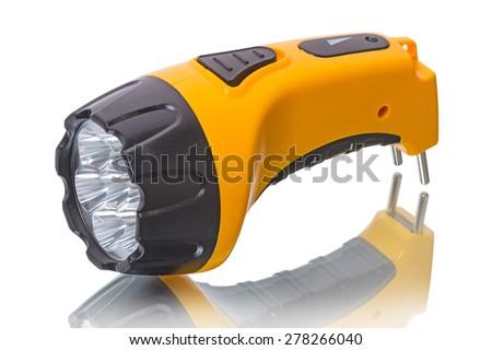 LED Flashlight with battery  isolated on a white background - stock photo