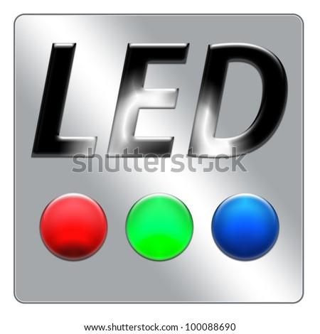 Led Icon on white canvas - stock photo
