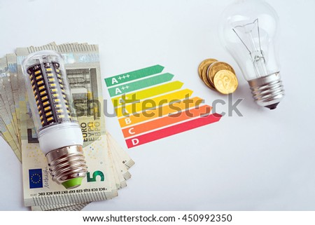 LED is energy saving lamp for save money. Eco concept. LED lamp, chart and money - stock photo