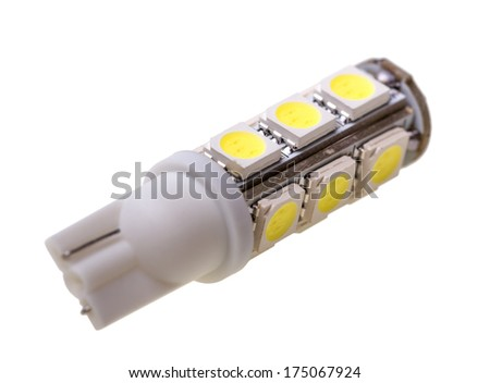 Led lamp for auto with 13 LEDs isolated on the white background - stock photo