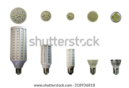 LED lamp isolated on a white  background  with clipping path. Closeup with no shadows.  A collection of lamps.  Energy-saving technology. The lamp with a conventional socket.  - stock photo