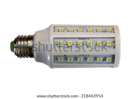 LED lamp isolated on a white  background  with clipping path. Closeup with no shadows.  12 watts.  Energy-saving technology. The lamp with a conventional socket.  - stock photo