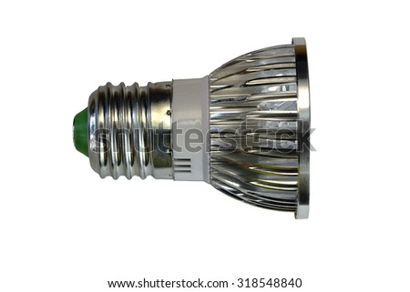 LED lamp isolated on a white  background  with clipping path. Closeup with no shadows.  5 watts.  Energy-saving technology. The lamp with a conventional socket.
