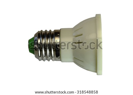 LED lamp isolated on a white  background  with clipping path. Closeup with no shadows.  5 watts.  Energy-saving technology. The lamp with a conventional socket.  - stock photo