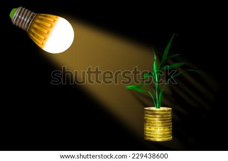 LED lamp shines on money saved - stock photo