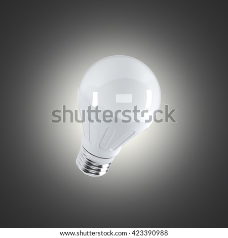 LED light bulb on a dark bakground (3d render) - stock photo