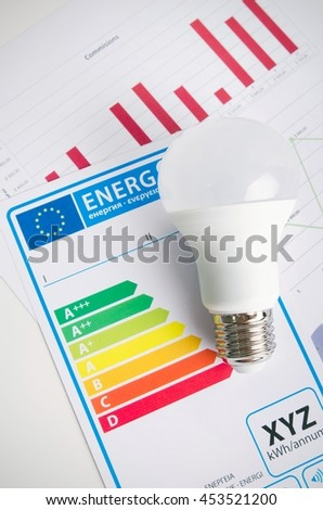 LED light bulb on energy efficiency chart. Economic concept