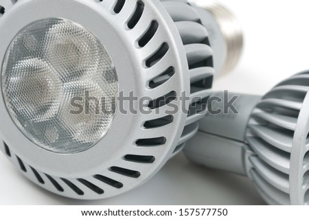 led light bulb on the white background - stock photo