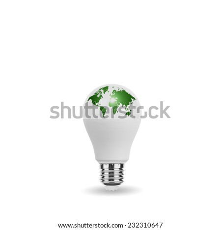 LED Light Bulb with World Map Eco Green