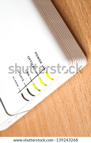 LED on the network connection to the Internet - stock photo