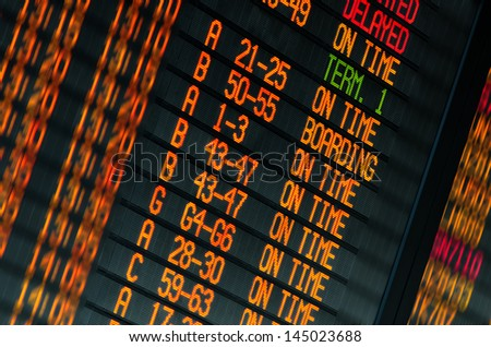 Led screen schedule of flights departures in the international airport - stock photo