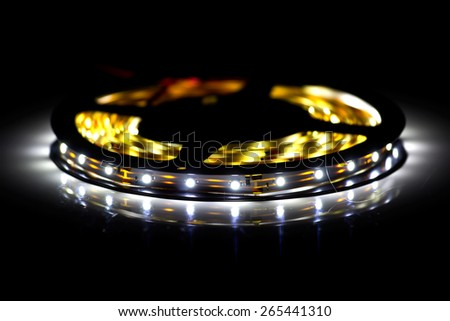 Led strip in coil. Shining diode crystal. - stock photo