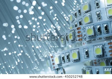 LED strip light and Fiber optics background - stock photo
