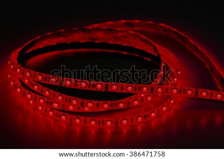 led strip lights, red color - stock photo