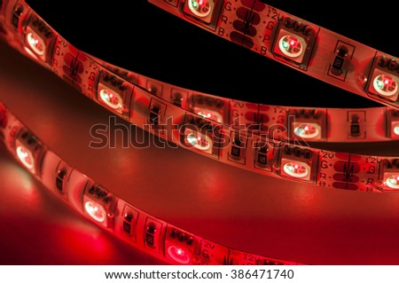 led strip rgb, red color, close up - stock photo