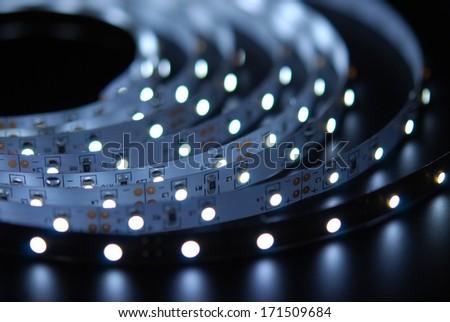 Led stripe on the black background - stock photo