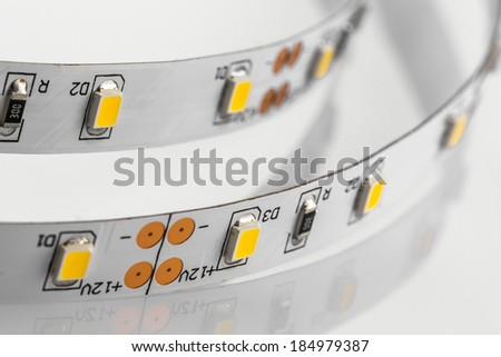 LED strips without silicone protection made a SMD 3-chips technologies