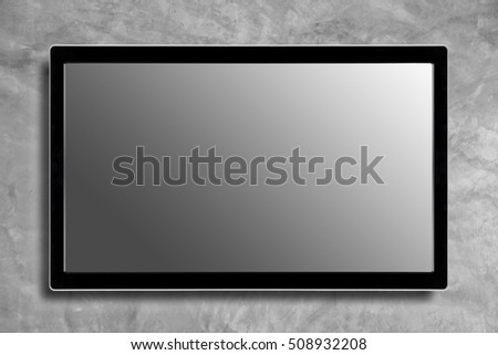 LED television screen mockup, blank hdtv on concrete wall for background.