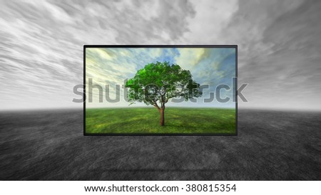 led tv display on wild represent the real color technology - stock photo