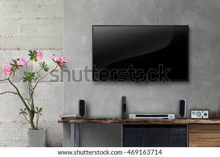 Led Tv On Concrete Wall With Wooden Table In Living Room Part 88