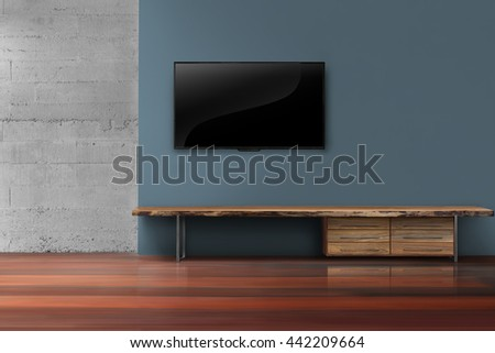 Led tv on dark blue wall with wooden furniture in empty living room modern loft style