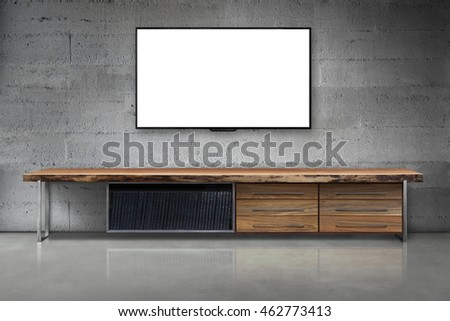 Led tv on hard concrete wall with wooden table living room modern loft style