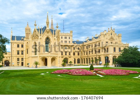 Lednice Castle in South Moravia in the Czech Republic - stock photo