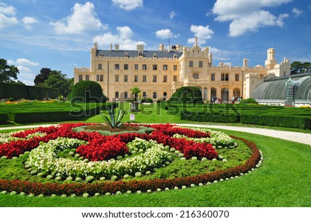 Lednice chateau, czech UNESCO heritage - stock photo