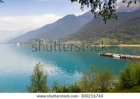 Ledro lake in Italy is called the blue lake - stock photo