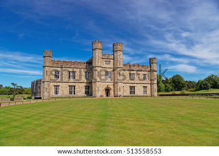 Leeds Castle in Kent in UK. The castle was built in the twelfth century as a king residence. Now it is open to the public.