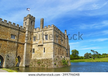 Leeds Castle in the island on the lake in Kent in England. The castle was built in the twelfth century as a king residence. Now it is open to the public. - stock photo