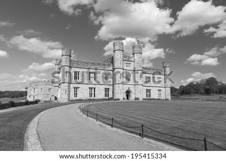 Leeds castle situated in the Kent region of England.  (black and white) - stock photo