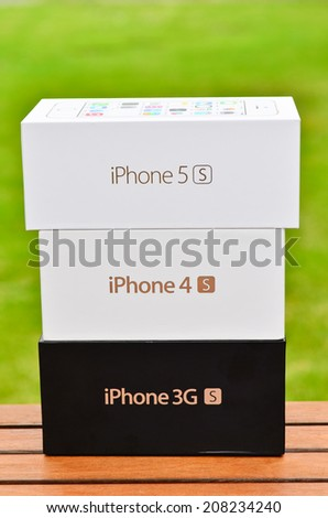 LEEDS - JULY 31: Apple iPhone boxes stacked up. July 31, 2014 in Leeds, UK - stock photo