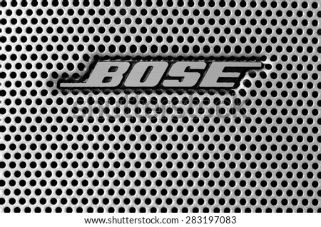 LEEDS - JUNE 01: Bose logo on a speaker grill, image processed in black and white. June 01, 2015 in Leeds, UK.
