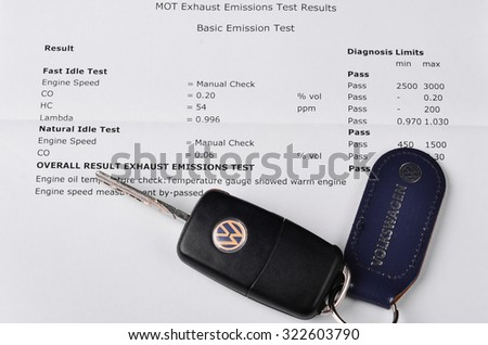 LEEDS - OCTOBER 1: Mot exhaust emissions test result. Volkswagen admit to fitting diesel engined vehicles with devices which could effect the outcome of emissions tests, October 1, 2015 Leeds, - stock photo