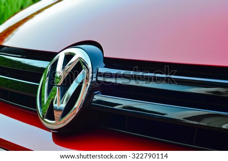 LEEDS - OCTOBER 1: Volkswagen badge on front grille of car. Volkswagen admit to fitting diesel engined vehicles with devices which could effect the outcome of emissions tests, October 1, 2015 Leeds, - stock photo