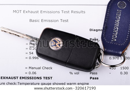 LEEDS - SEPTEMBER 26: Mot exhaust emissions test result. Volkswagen admit to fitting diesel engined vehicles with devices which could effect the outcome of emissions tests, September 26, 2015 Leeds, - stock photo