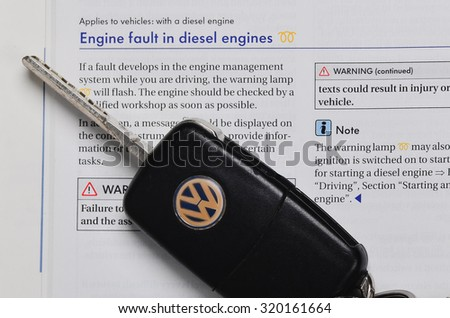 LEEDS - SEPTEMBER 24:Volkswagen admit to fitting diesel engined vehicles with devices which could effect the outcome of emissions tests, September 24, 2015 Leeds, - stock photo