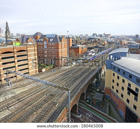 Leeds skyline with the railway tracks leading into Leeds station, England, UK - stock photo