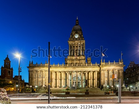 Leeds Town Hall is a grade I building,  conveniently located in the center of Leeds, next to Leeds Central Library and Leeds City Art Gallery. - stock photo