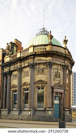 LEEDS, UK - JUNE 6, 2015: Public House and restaurant. The Leeds City Region is the UK largest economy and population centre outside London, generating 4% of national economic output - stock photo