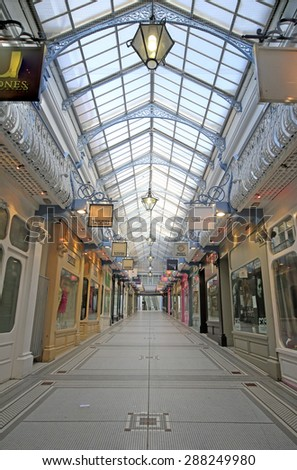 LEEDS, UK - JUNE 6, 2015: Queen's Arcade, Leeds. The Leeds City Region is the UK's largest economy and population centre outside London, generating 4% of national economic output
