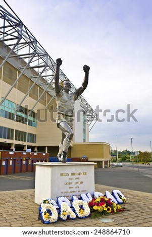 LEEDS, UK - MAY 4, 2014: A statue of former Leeds' captain Billy Bremner at  Elland Road stadium, home of Leeds United Football Club since 1919 following the disbanding of Leeds City F.C. - stock photo